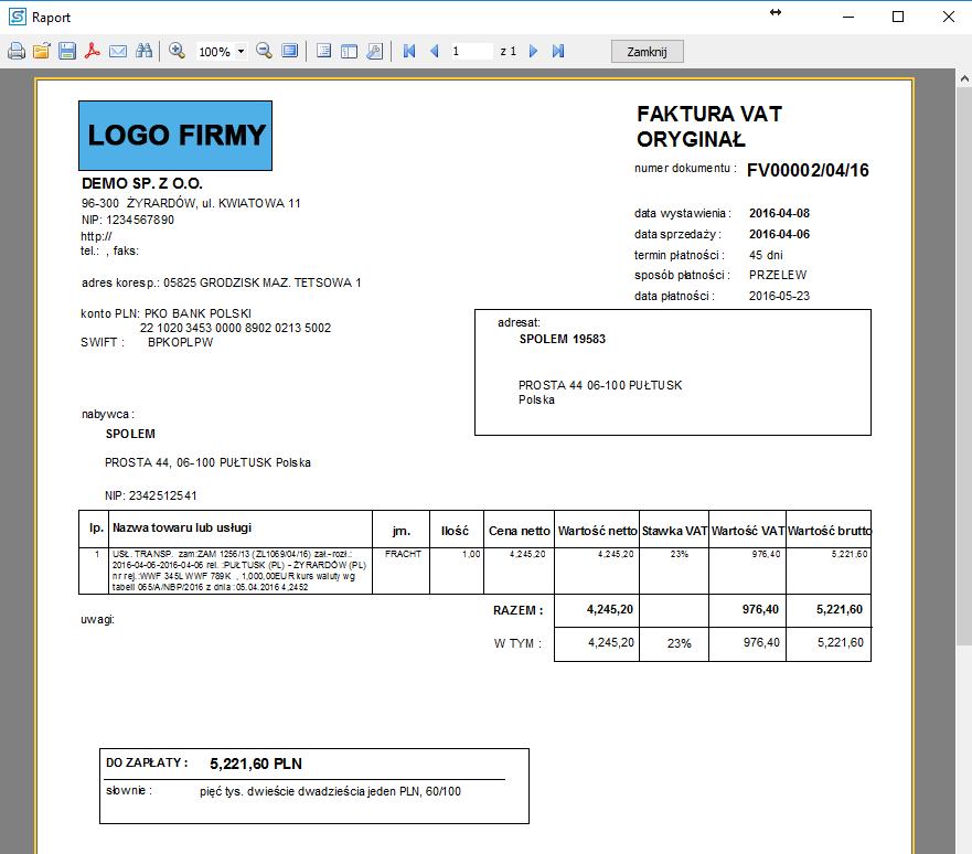 SPEDTRANS 8 - Podgląd faktury sprzedaży dla zlecenia transportu lub spedycji
