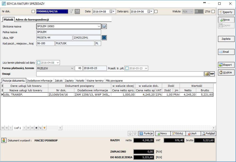 SPEDTRANS SQL 7.000 - Faktura sprzedaży dla zlecenia transportu lub spedycji