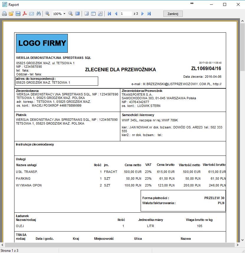 SPEDTRANS 8 - Podgląd wydruku zlecenia transportu lub spedycji