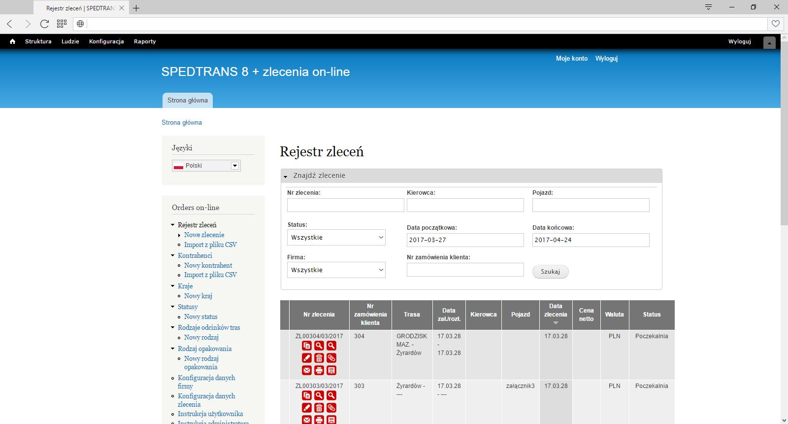SPEDTRANS 8 - zlecenia on-line, moduł www